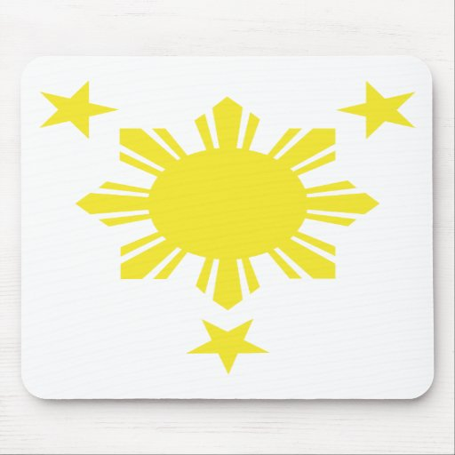 Filipino Basic Sun and Stars - Yellow Mouse Pads