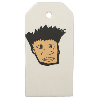 filipino boy  cartoon face collection wooden gift tags