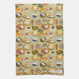 Filipino Breakfast and Meryenda (Snacks) Pattern Kitchen Towel
