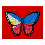 Filipino Butterfly Flag on Red Poster