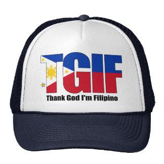 Filipino de TGIF con la bandera filipina Gorra