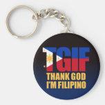 Filipino de TGIF con la bandera filipina Llavero Redondo Tipo Pin