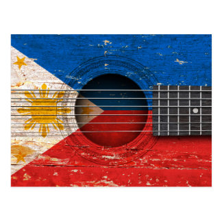 Filipino Flag on Old Acoustic Guitar Postcard