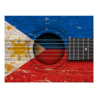 Filipino Flag on Old Acoustic Guitar Poster