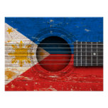 Filipino Flag on Old Acoustic Guitar Posters