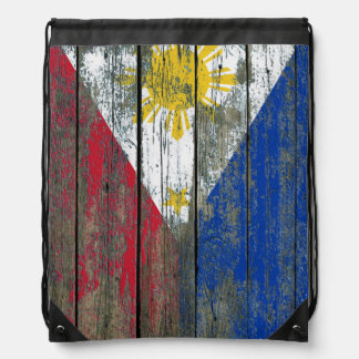 Filipino Flag on Rough Wood Boards Effect Drawstring Backpack