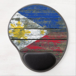 Filipino Flag on Rough Wood Boards Effect Gel Mouse Pad