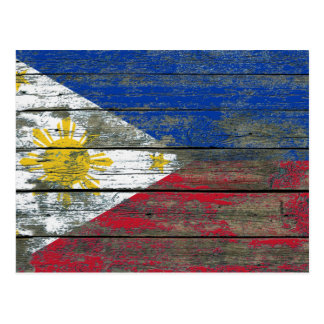 Filipino Flag on Rough Wood Boards Effect Postcard