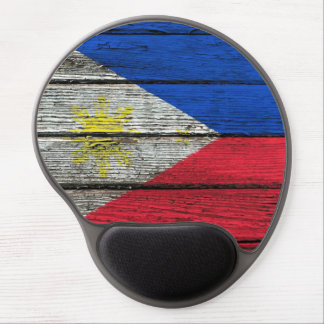 Filipino Flag with Rough Wood Grain Effect Gel Mouse Pad