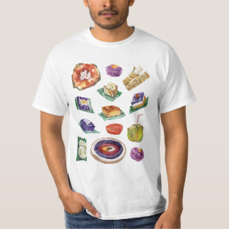 Filipino Food Delicacies in Watercolor Pinoy T-Shirt