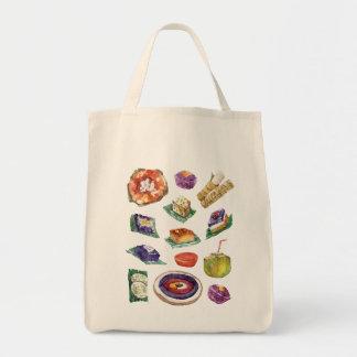 Filipino Food Delicacies in Watercolor Pinoy Tote Bag