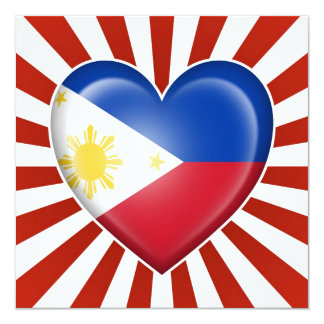 Filipino Heart Flag with Star Burst Card