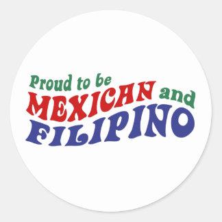 Filipino mexicano pegatina redonda