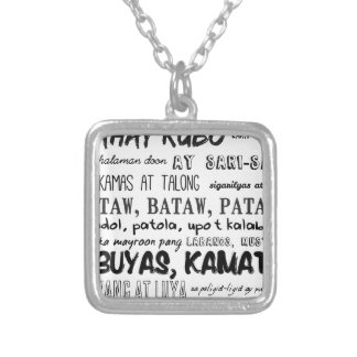 Filipino Nursery Rhyme Series Square Pendant Necklace