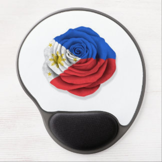 Filipino Rose Flag on Black on White Gel Mouse Pad
