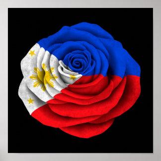 Filipino Rose Flag on Black Poster