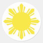 Filipino Sun - amarillo Pegatina Redonda