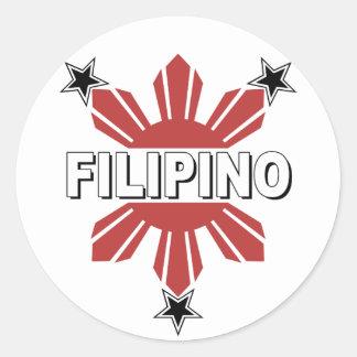Filipino Sun and Star Round Sticker