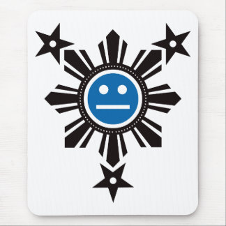 Filipino Sun and Stars Face - Black and Blue Mouse Pad