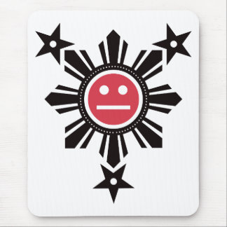 Filipino Sun and Stars Face - Black and Red Mouse Pad