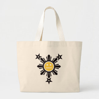 Filipino Sun and Stars Face - Black and Yellow Bags