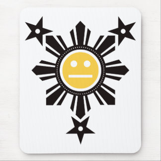 Filipino Sun and Stars Face - Black and Yellow Mouse Pad