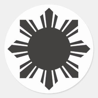 Filipino Sun - negro Pegatina Redonda