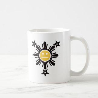 Filipino Sun y cara de las estrellas - negro y ama Taza De Café