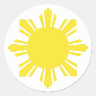 Filipino Sun - Yellow Classic Round Sticker