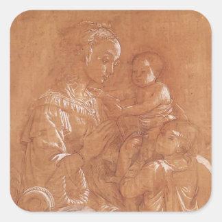 Filippo Lippi- Madonna con el niño y dos ángeles Pegatina Cuadrada