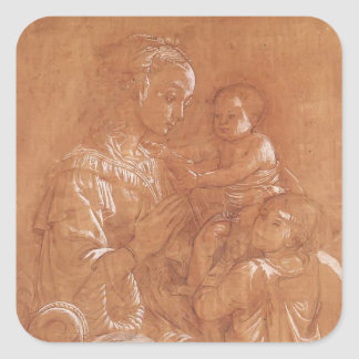 Filippo Lippi- Madonna with Child and two Angels Square Sticker