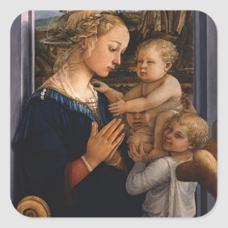 Filippo Lippi- Madonna y niño con dos ángeles Pegatina Cuadrada