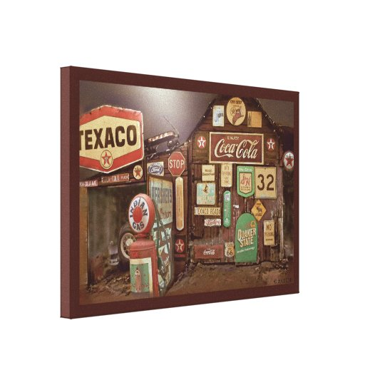 """""""Fill-er Up"""" Old Time Gas Station Digital Painting Canvas Print"""