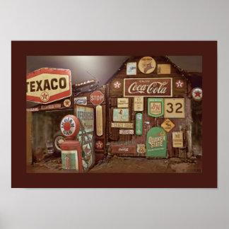 """""""Fill-er Up"""" Old Time Gas Station Digital Poster"""