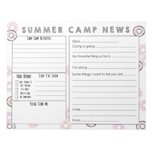 Fill in Camp Letter _ Cute Summer Camp Stationery Notepad