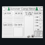"""Fill in Camp Letter Summer Camp Stationary Notepad<br><div class=""""desc"""">I designed this summer camp stationery to encourage kids to keep in touch with their family and/or friends by making it a fun fill in camp letter. This summer camp news stationary has an outdoor camping feel to it with the green trees and the bear paw print. This Summer Camp...</div>"""