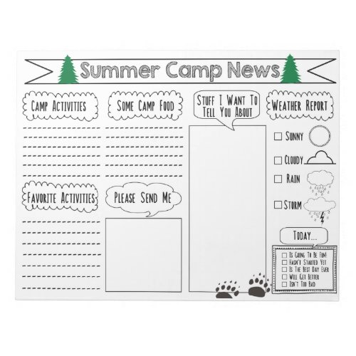 Fill in Camp Letter Summer Camp Stationary Notepad