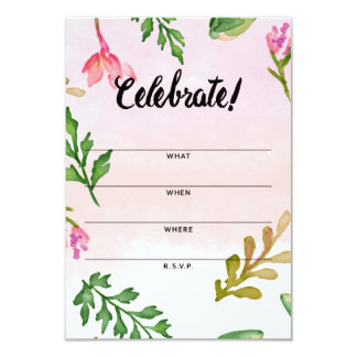 Fill in Invitation Cards - Pink Ombre Foliage