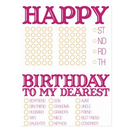 fill in the blank happy birthday  postcard
