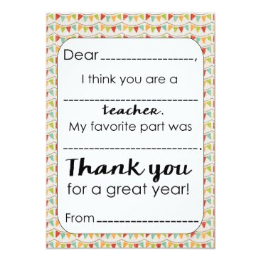 Fill in the Blank Teacher Thank You Card