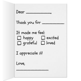 Fill in the Blank Thank You Card from Child