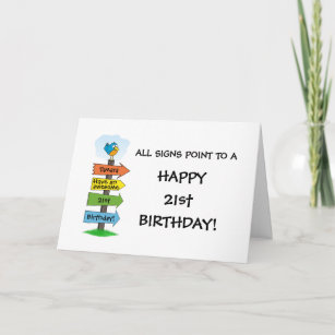 Fill In The Signs Fun 21st Birthday Card