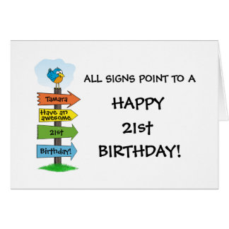 Fill-In The Signs Fun 21st Birthday Card