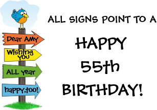 Fill In The Signs Fun 55th Birthday Card