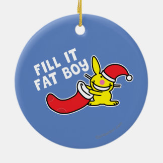 Fill It Fat Boy Double-Sided Ceramic Round Christmas Ornament