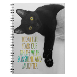 Fill Your Cup Of Life Black Cat Motivational Quote Notebook