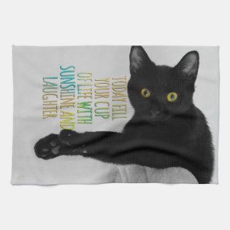 Fill Your Cup Of Life Black Cat Motivational Quote Towel