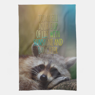 Fill Your Cup Of Life Raccoon Motivational Quote Hand Towel