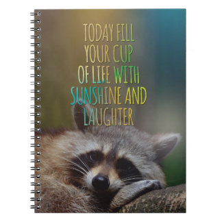 Fill Your Cup Of Life Raccoon Motivational Quote Notebook