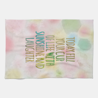 Fill Your Cup Of Life Watercolor MotivationalQuote Hand Towel